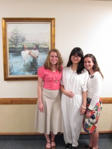 Amanda and her companion with Miranda on her baptism day