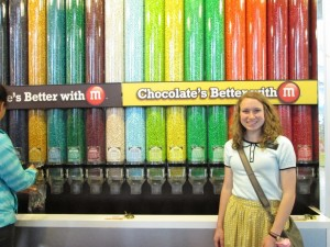 Amanda at the color wall in the Times Square M&M store