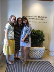 Amanda and companion with Miranda at temple for baptisms