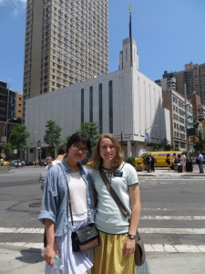 Miranda and Amanda across the street from the temple in Manhattan